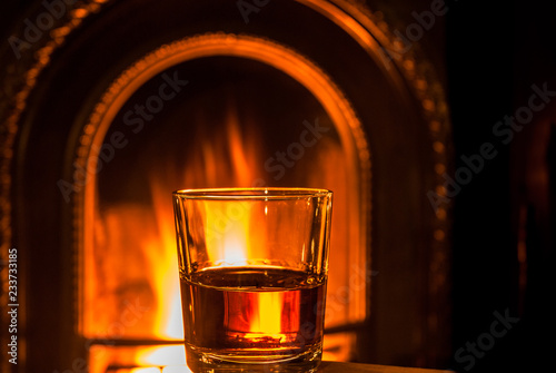 Canvas Print Fireside Whiskey