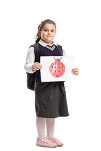 Little Schoolgirl Holding A Drawing With A Ladybug