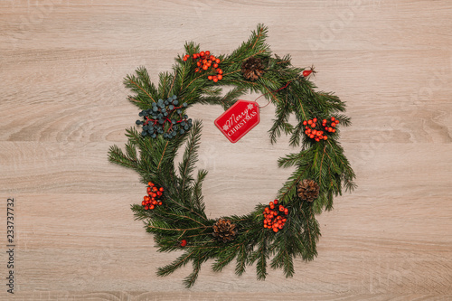 wooden table with crown christmas decoration