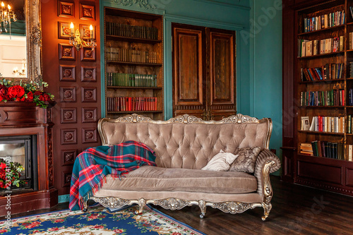 Photo  Luxury classic interior of home library