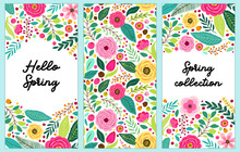 Cute Set Of Spring Flowers Vertical Banners