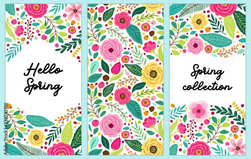 Ładny zestaw wiosennych kwiatów pionowych banerów