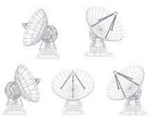 Vector Set. Radio Antenna. Astronomy And Space Research