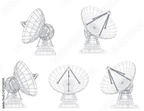 Obraz vector set. Radio antenna. astronomy and space research - fototapety do salonu