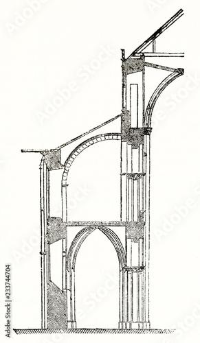 old illustration of an architectonic detail of flying buttress of Abbaye aux Hommes (Men's Abbey) in Caen France Tapéta, Fotótapéta