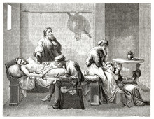Ancient Man On His Dying Bed Dictates His Will To A Writer.  Old Engraved Reproduction Of The Testament Of Eudamidas. After Poussin Published On Magasin Pittoresque Paris 1839