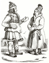 Old Engraved Illustration Depicting Two Norwegian Laplanders In Their Traditional Costumes Suitable For Cold Temperatures. Created By Wattier Andrew Best And Leloir, Magasin Pittoresque Paris 1839