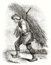 Ancient Illustration Of A Normand Peasant In Traditional Costume Carrying A Heavy Bundle Of Wood On His Back. By Unidentified Author Published On Magasin Pittoresque Paris 1839