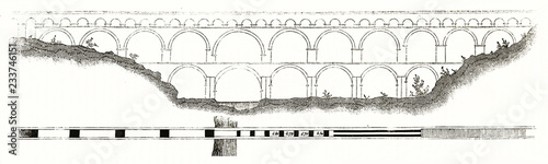 Valokuvatapetti Old plan of the Pont du Gard Roman ancient aqueduct across the Gardon river southern France