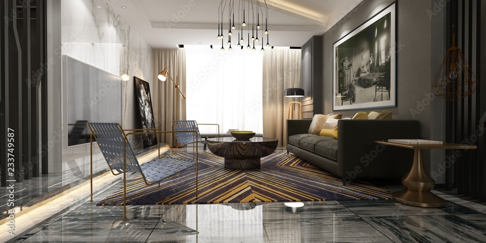 Fototapeta 3d render of living room