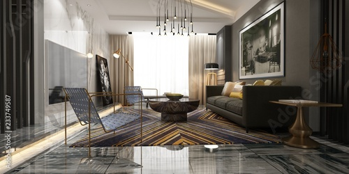 Photographie  3d render of living room