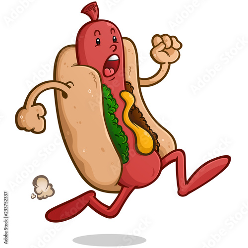 Canvastavla Frantic Hot Dog Cartoon Character Running Away from Danger in a Panic