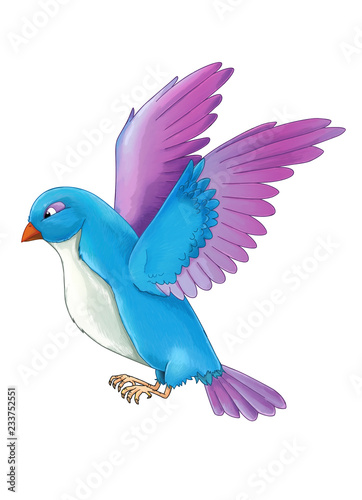 Cartoon Exotic Colorful Bird Flying On White Background Illustration For Children Buy This Stock Illustration And Explore Similar Illustrations At Adobe Stock Adobe Stock
