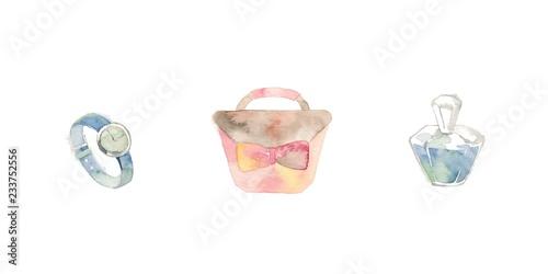 Fotografie, Obraz  ターコイズブルーとピンクのファッション小物、香水