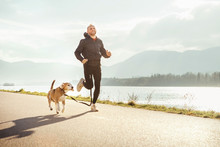 Morning Jogging With Pet: Man ...