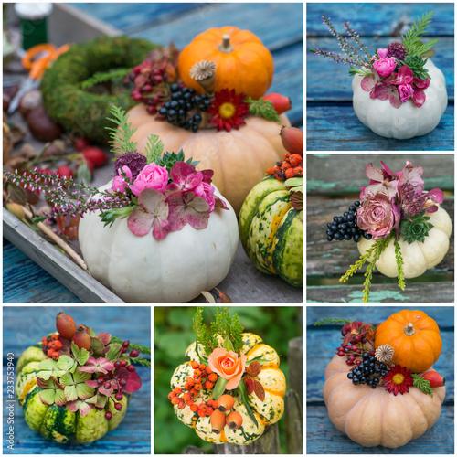 Photo  Collage mit mehreren verschiendenen dekortierten Zierkürbissen