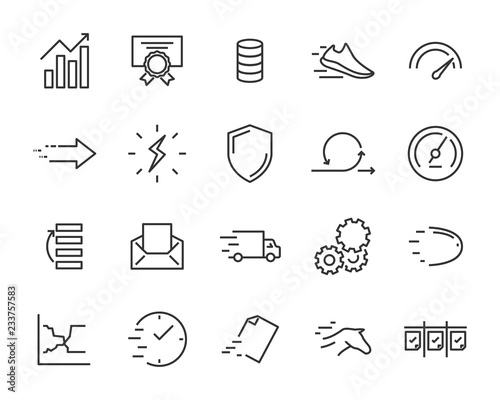 simple set of vector line icons, contain such lcon as speed, agile, boost, proce Canvas Print