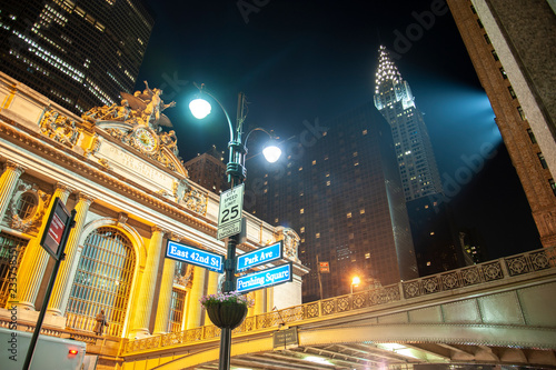 Pershing Square at night with Chrysler building and Grand Central Station Canvas Print