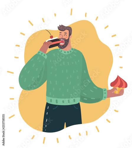 Cartoon fat man with a cake. Wallpaper Mural