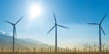Windmill Farm Silhouette With Setting Sun