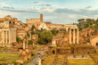 Aerial scenic view of Roman Forum and Colosseum in Rome , Italy. Rome architecture and landmark.