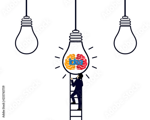 businessman race walking up on staircase go to light bulb