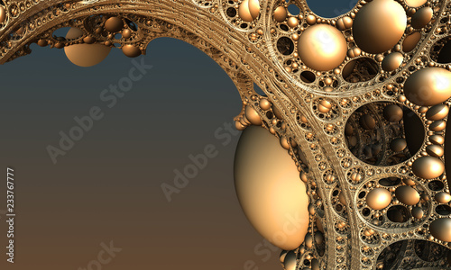 Photo Stands Fractal waves Abstract background, fantastic 3D gold structures, render illustration.
