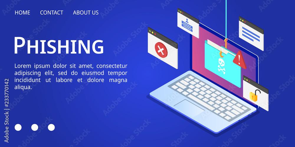 Fototapeta Laptop phishing banner. Isometric illustration of laptop phishing vector banner for web design
