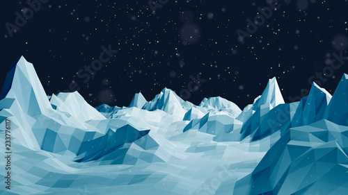 Foto op Canvas Groen blauw Low Poly Winter Mountain Landscape Background