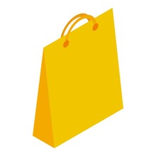 Yellow Paper Shop Bag Icon. Isometric Of Yellow Paper Shop Bag Vector Icon For Web Design Isolated On White Background