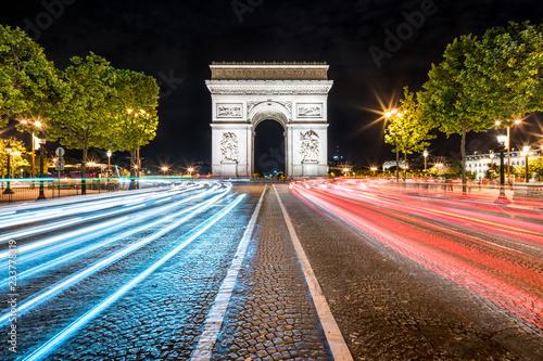 Obraz Łuk Triumfalny w nocy, Paryż, Francja - fototapety do salonu