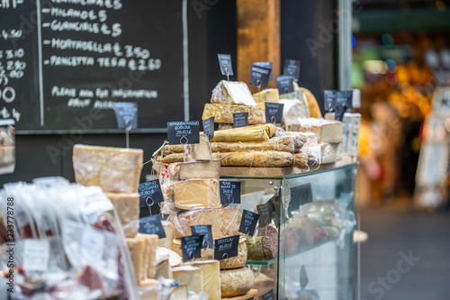 Vászonkép LONDON, UK - NOVEMBER 13, 2018 - Cheese and other quality Italian products such