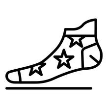 Star Sock Icon. Outline Star S...