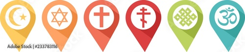 Fototapeta Pictogram of different religions in pins to know where to find them