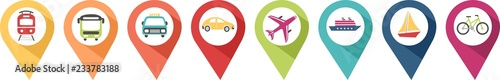 Pictograms of transport vehicles in coloured pins to locate a location