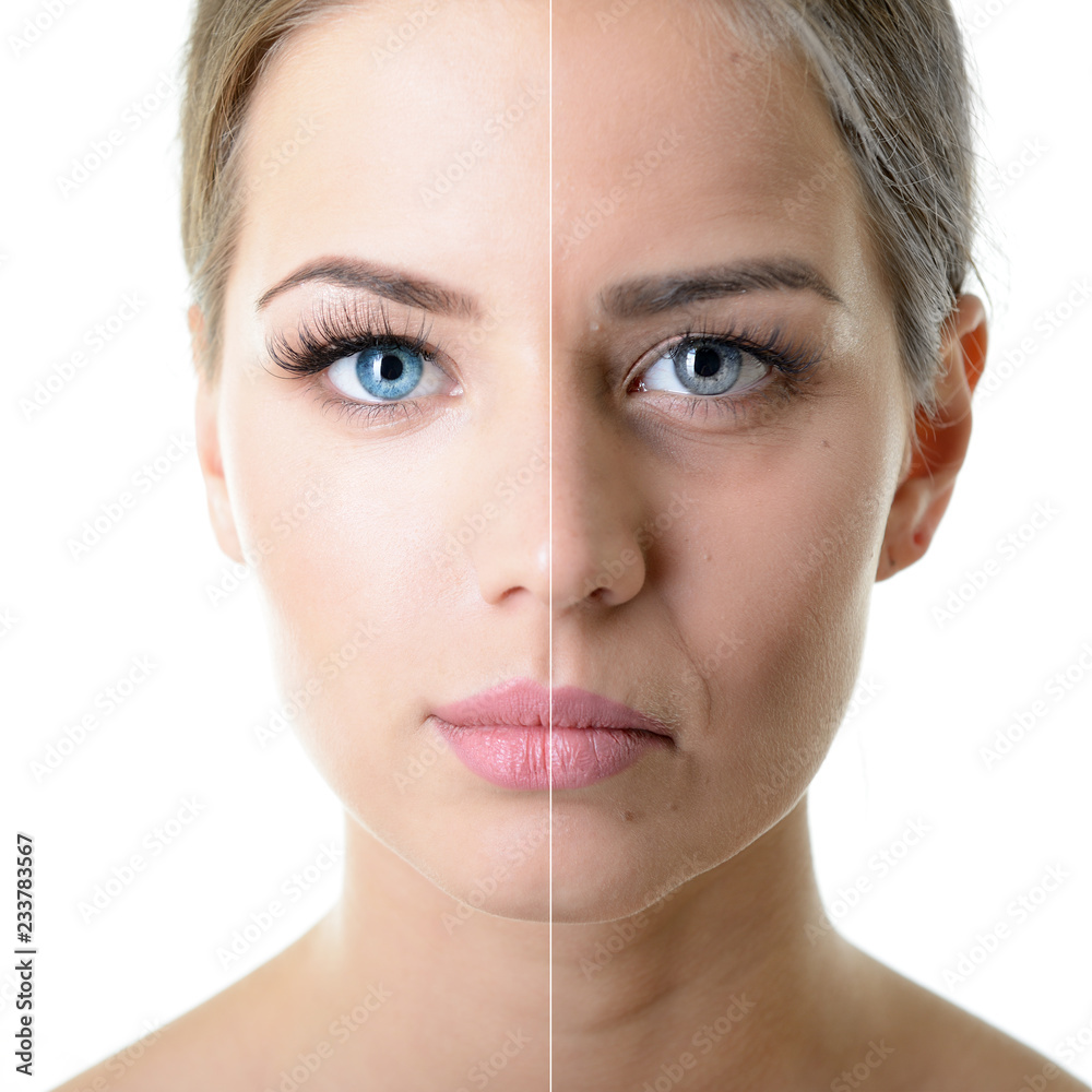 Fototapeta Anti-aging concept. Portrait of beautiful woman with problem and clean skin. Aging and youth concept. Beauty treatment.