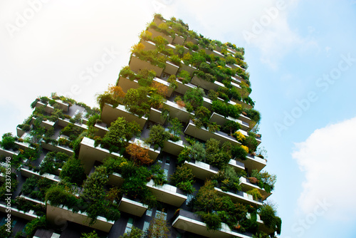 Milan, Italy - September 19th, 2018, Bosco Verticale, Vertical Forest residential towers.