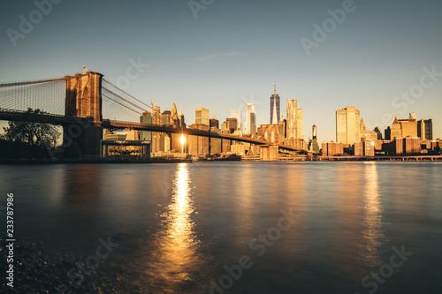 Canvas-taulu New york city skyline with Brooklyn bridge