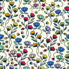 Colorful floral pattern seamless background design