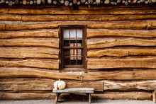 Log Cabin Outside Wall With Be...