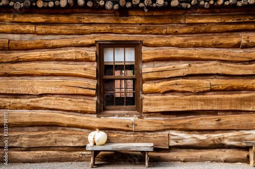 Cuadros en Lienzo Log cabin outside wall with bench