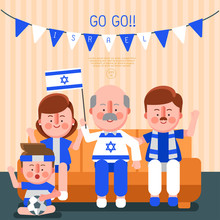 Happy Family Cheering Sport With National Flag : Israel : Vector Illustration