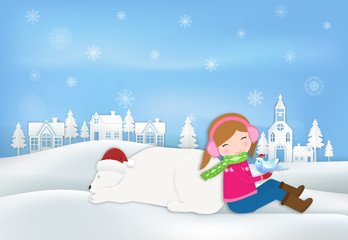 Paper art of Girl, Polar bear, bird  in countryside illustration