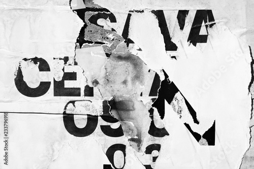 Printed kitchen splashbacks Old grunge ripped torn vintage collage street posters creased crumpled paper surface placard texture background backdrop dark black