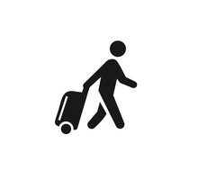 Man Travel With Suitcase Icon