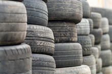 Used Wheel Tires Stacked Ready...