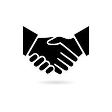 Black Business Agreement Handshake Or Friendly Handshake, Partnership Icon Or Logo