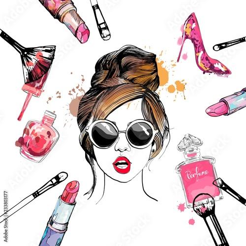 Plakaty do kosmetyczki  cosmetics-and-fashion-illustration-with-stylish-young-girl-in-glasses