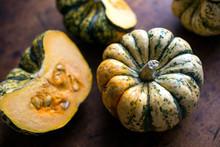 Close Up Of Pumpkin On Wooden ...
