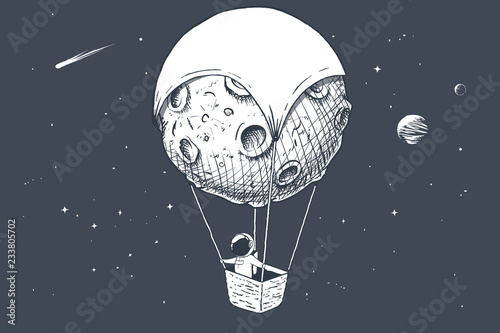 Fotografia, Obraz astronaut travels by on aerostat made of Moon